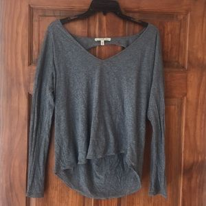 EXPRESS STRAPPY BACK GRAY LONG SLEEVE V NECK SHIRT